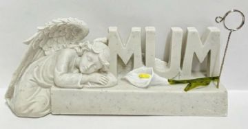 Reusable  GUARDIAN ANGEL with LILY Graveside Memorial CARD FRAME HOLDER GSH04 - MUM
